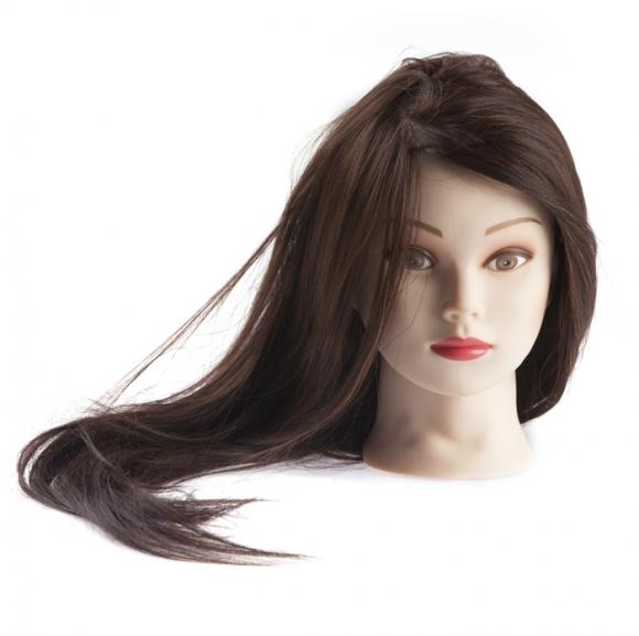 """Голова учебная """"шатенка"""" полунатуральная, волосы 45-50см"""